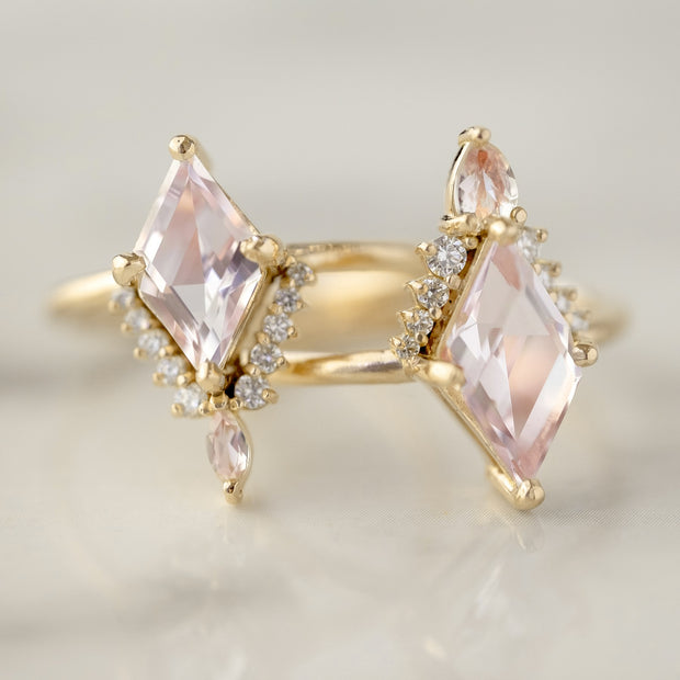 1.39 Carat Morganite & Diamond Engagement Ring, Ava Setting, 14k Yellow gold