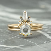 1.07ct Clear Hexagon Diamond Engagement Ring, Jane Setting, 14K Yellow Gold