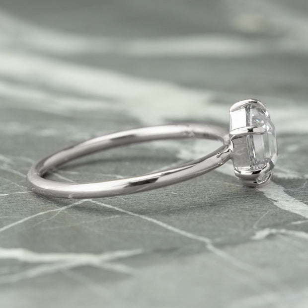1.07ct Clear Hexagon Diamond Engagement Ring, Jane Setting, 14K White Gold