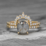 1.65 Carat Grey Oval Diamond Engagement Ring, Jules Setting, 14K Yellow Gold