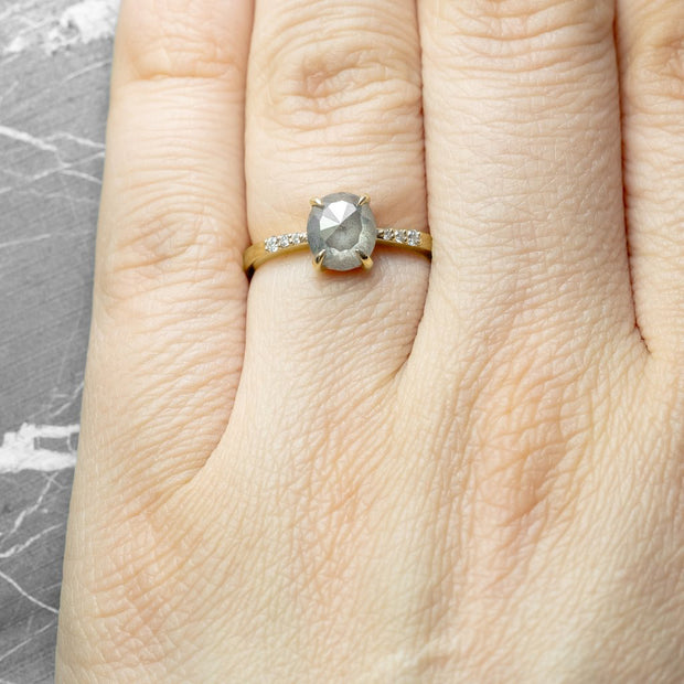 Grey Oval Diamond Engagement Ring