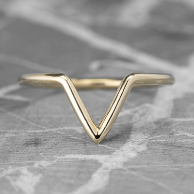 V Shaped Wedding Band, Victoria Setting, 14K Yellow Gold
