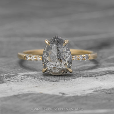 2.39 Carat Salt & Pepper Pear Diamond Engagement Ring, Tapered Jules Setting,14k Yellow Gold