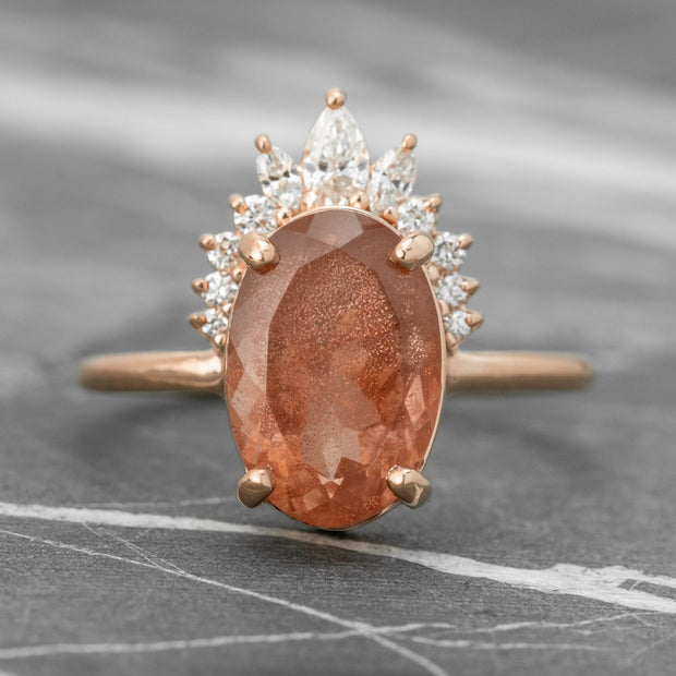 Sunstone Halo Engagement Ring