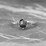 Black Hexagon Diamond Engagement Ring