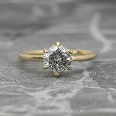 .89 Carat Salt & Pepper Round Diamond Engagement Ring, Madeline Setting, 14K Yellow Gold