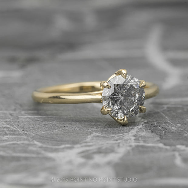 .93 Carat Salt & Pepper Round Diamond Engagement Ring, Madeline Setting, 14K Yellow Gold