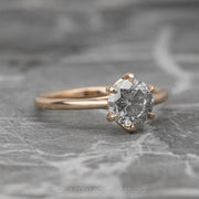.94 Carat Salt & Pepper Round Diamond Engagement Ring, Madeline Setting, 14K Rose Gold