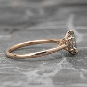 1.01 Carat Salt & Pepper Round Diamond Engagement Ring, Madeline Setting, 14K Rose Gold
