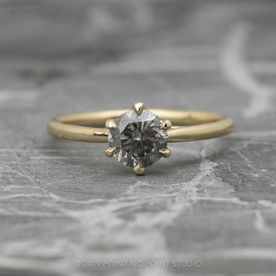 .86 Carat Salt & Pepper Round Diamond Engagement Ring, Madeline Setting, 14K Yellow Gold