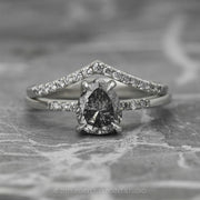 1.33 Carat Salt & Pepper Brilliant Cut Pear Diamond Engagement Ring, Jules Setting, 14k White Gold