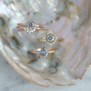 1.33ct Salt & Pepper Brilliant Cut Pear Diamond Engagement Ring, Jules Setting, 14k Rose Gold