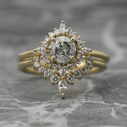 .88 Carat Salt & Pepper Diamond Engagement Ring, Cosette Setting, 14K Yellow Gold