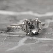 Salt & Pepper Emerald Diamond Engagement Ring