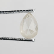 2 Carat Semi-Translucent White Grey Pear Rose Cut Diamond