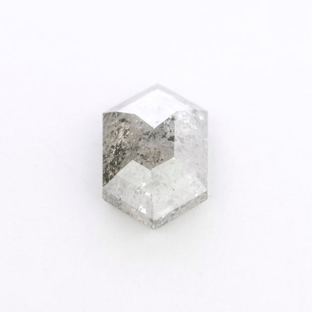 2.63 Carat Grey Salt & Pepper Hexagon Rose Cut Diamond
