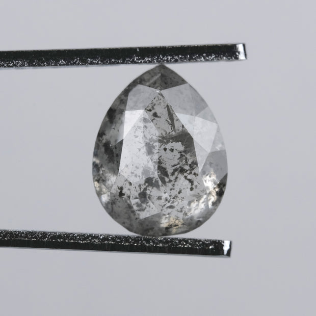 2.81 ct Translucent Salt & Pepper Double Cut Pear Diamond