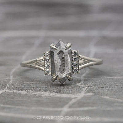 Grey Hexagon Diamond Engagement Ring