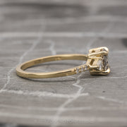 .95 Carat Salt & Pepper Diamond Engagement Ring, Eliza Setting, 14K Yellow Gold