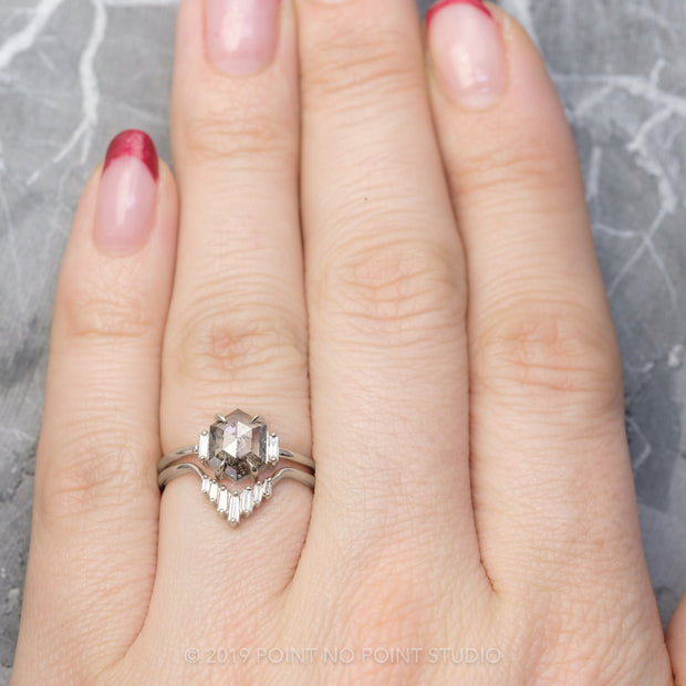 Blush Baguette Diamond Wedding Band, Juniper Setting, Platinum