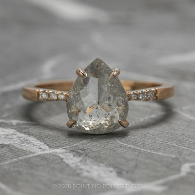 1.83 Carat Salt & Pepper Pear Diamond Engagement Ring, Tapered Jules Setting, 14K Rose Gold