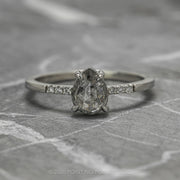 .94 Carat Salt & Pepper Pear Diamond Engagement Ring, Jules Setting, 14K White Gold