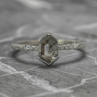 1.21 Carat Salt & Pepper Hexagon Diamond Engagement Ring, Tapered Sirena Setting, 14K White Gold