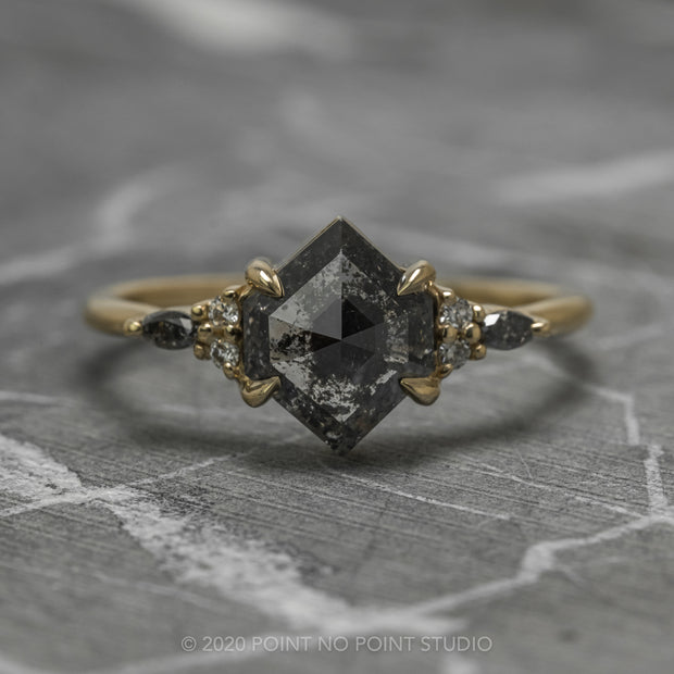 Black Speckled Hexagon Engagement Ring