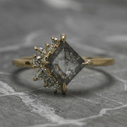 1.42 Carat Salt & Pepper Geometric Diamond Engagement Ring, Sammy Setting, 14K Yellow Gold