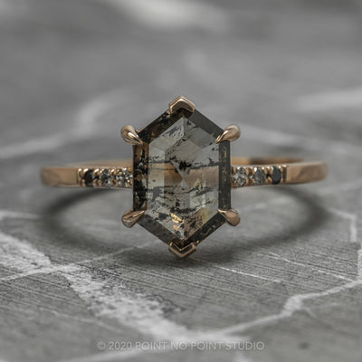1.65 Carat Translucent Salt & Pepper Hexagon Diamond Engagement Ring, Ombre Sirena Setting, 14K Rose Gold