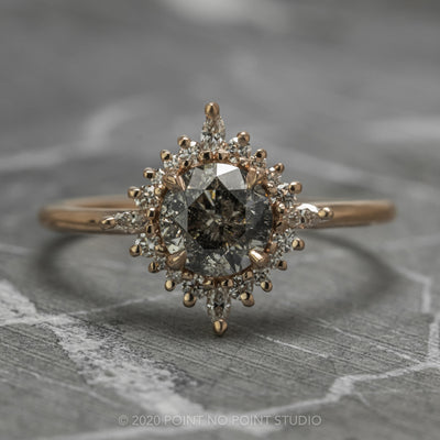 1.09 Carat Salt & Pepper Diamond Engagement Ring, Cosette Setting, 14K Rose Gold