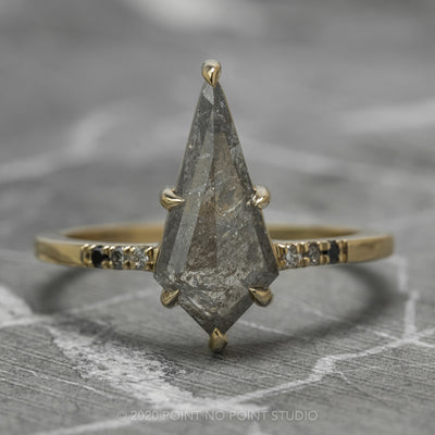 Salt & Pepper Kite Diamond Engagement Ring