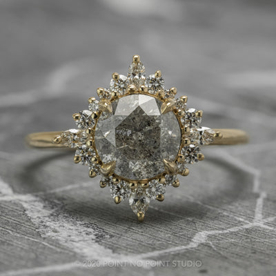1.84 Carat Salt & Pepper Diamond Engagement Ring, Cosette Setting, 14K Yellow Gold