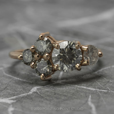 2.03 Carat Salt & Pepper Diamond Cluster Engagement Ring, 14k Rose Gold