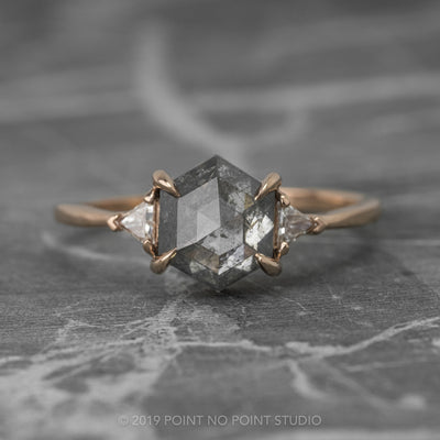 1.69 Carat Grey Hexagon Diamond Engagement Ring, Zoe Setting, 14K Rose Gold