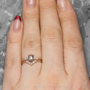 Round & Baguette Diamond V Band, Petite Paloma Setting, 14K Rose Gold