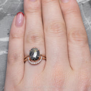 2.34 Carat Black Speckled Oval Diamond Engagement Ring, Jane Setting, 14K Rose Gold