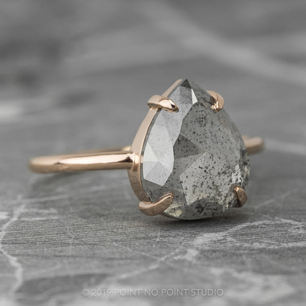 Grey Pear Diamond Engagement Ring