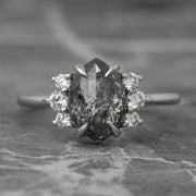 2.46 Carat Black Speckled Marquise Diamond Engagement Ring, Charlotte Setting, 14K White Gold