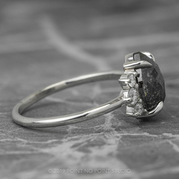 Black Speckled Marquise Diamond Engagement Ring