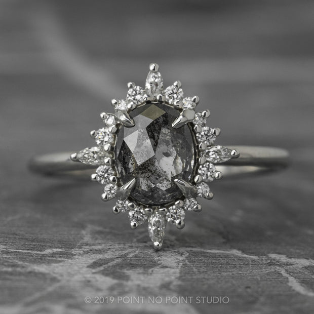 1.09 Carat Black Speckled Oval Diamond Engagement Ring, Cosette Setting, 14K White Gold