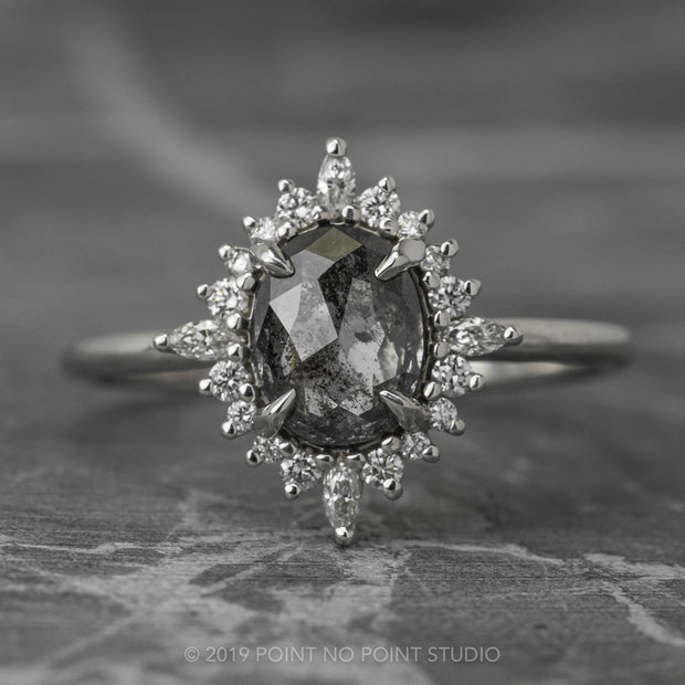 Black Speckled Diamond Engagement Ring