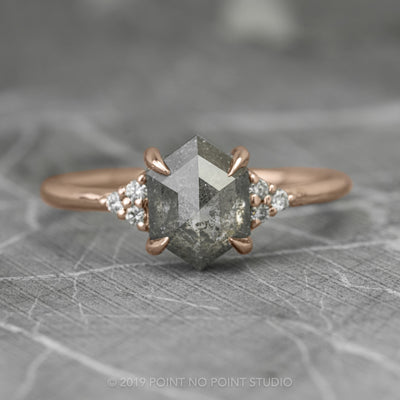 Salt & Pepper Hexagon Engagement Ring