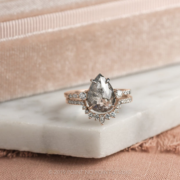 2.23 Carat Salt & Pepper Pear Diamond Engagement Ring, Eliza Setting, 14K Rose Gold