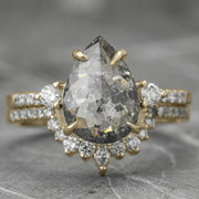 2.23 Carat Salt & Pepper Pear Diamond Engagement Ring, Eliza Setting, 14K Yellow Gold