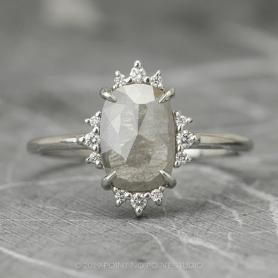 Grey Speckled Oval Diamond Engagement Ring