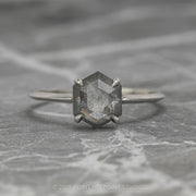1.57 Carat Speckled Grey Hexagon Diamond Engagement Ring, Knife Edge Jane Setting, 14K White Gold
