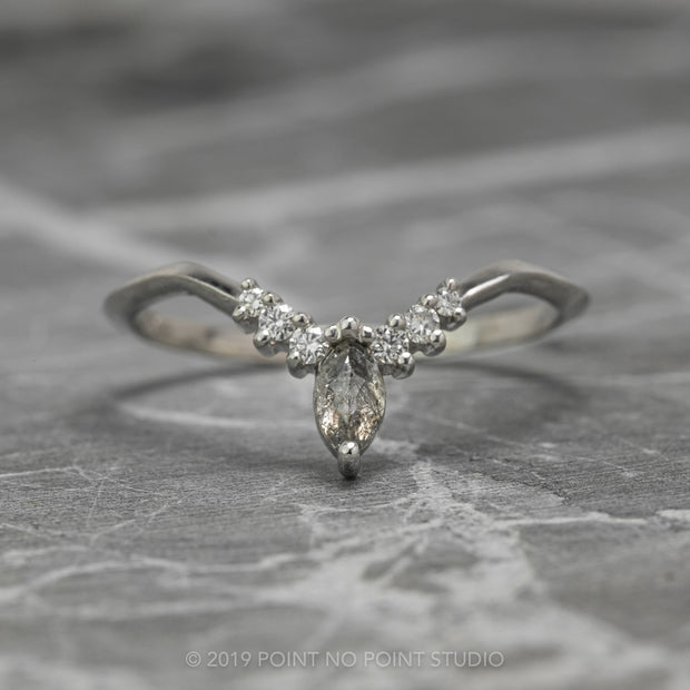 Salt & Pepper Marquise and White Diamond Wedding Band
