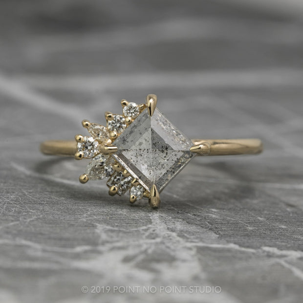 1.29 Carat Salt & Pepper Geometric Diamond Engagement Ring, Sammy Setting, 14K Yellow Gold