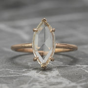 1.35 Carat Clear Marquise Diamond Engagement Ring, Jane Setting, 14K Rose Gold